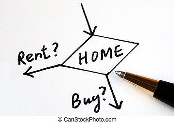 σπίτι , αγοράζω , ενοικιάζω , ή