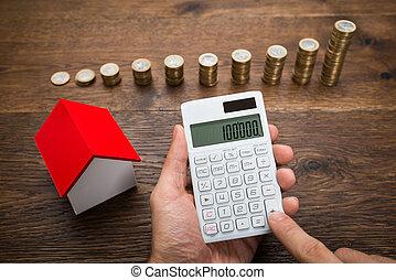 σπίτι , αριθμομηχανή , κέρματα , χρησιμοποιώνταs , επιχειρηματίας , μοντέλο