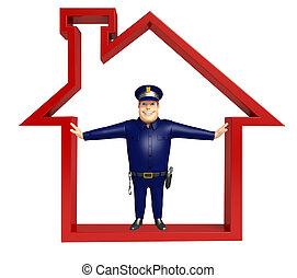σπίτι , αστυνομεύω αναχωρώ