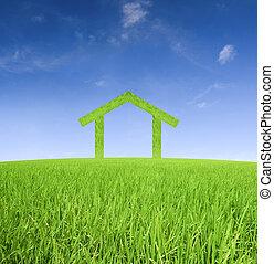 σπίτι , γενική ιδέα , πράσινο , φωτογραφία