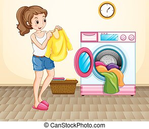 σπίτι , γυναίκα , μπουγάδα