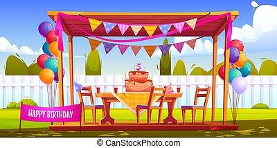 σπίτι , διακόσμηση , πίσω αυλή , μικρόκοσμος , πάρτυ γεννεθλίων