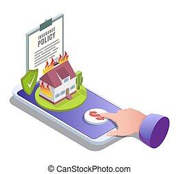 σπίτι , διαμέρισμα , online , μικροβιοφορέας , ασφάλεια , εικόνα , isometric