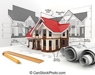 σπίτι , επάνω , ο , γραμμάτιο , μέσα , διαφορετικός , βολή , και , blueprints.