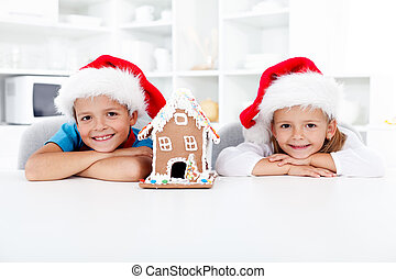 σπίτι , ευτυχισμένος , μικρόκοσμος , xριστούγεννα , άρτος αρωματισμένος με τζίντζερ