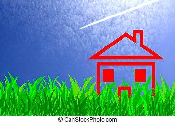 σπίτι , ηλιόλουστος , λιβάδι , κόκκινο