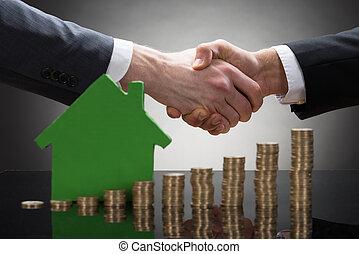 σπίτι , κέρματα , businessmen , ανάμιξη , μοντέλο , κλονισμός