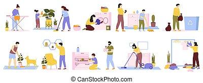 σπίτι , καθάρισμα , κενό , ironing., μικροβιοφορέας , καθημερινά , θέτω , σπίτι , cleaners., οικογένεια , νοικοκυριό , ένοικος , εικόνα , ρουτίνα , πλύση , οικιακός