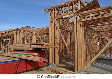 σπίτι , καινούργιος , δομή , κάτω από