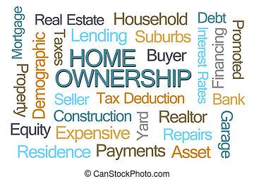 σπίτι , λέξη , ιδιοκτησία , σύνεφο