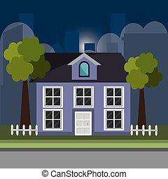 σπίτι , μέσα , ο , γειτονιά , σκηνή