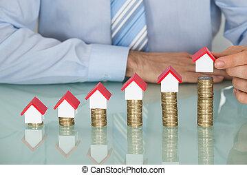 σπίτι , μοντέλο , κέρματα , θημωνιά , επιχειρηματίας