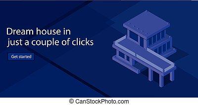 σπίτι , πώληση , μικροβιοφορέας , illustration., isometric