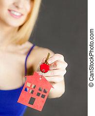 σπίτι , σύμβολο , γυναίκα , κλειδί , κράτημα