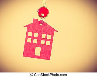 σπίτι , σύμβολο , κλειδί , κόκκινο