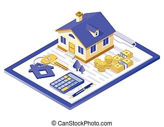 σπίτι , υποθηκεύω , αγοράζω , πώληση , ενοικιάζω , isometric
