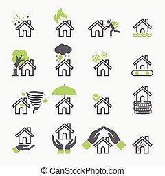 σπίτι , icons., μικροβιοφορέας , ακολουθία , ασφάλεια , illustrations.