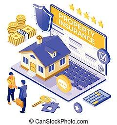 σπίτι , online , ασφάλεια , propery, isometric