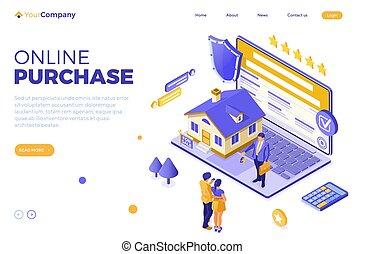 σπίτι , online , υποθηκεύω , πώληση , ενοικιάζω , isometric