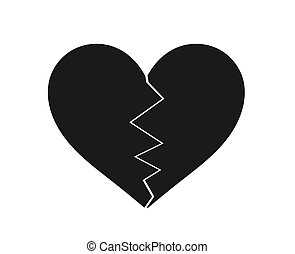 σπασμένος , μαύρο , icon., καρδιά