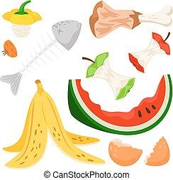 σπατάλη , φόντο. , καρπούζι , τροφή , παγωμένος , κοπρόχωμα , απομονωμένος , fish, μήλο , ενόργανος , άσπρο , κόκκαλο , δημοκοπώ , σκουπίδια , μπανάνα