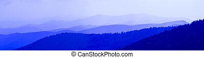 σπουδαίος , μπλε , καπνίζων , απόχρωση , βουνά
