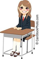 σπουδαστής , κορίτσι , κάθονται