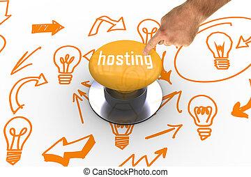 σπρώχνω , εναντίον , κουμπί , hosting, κίτρινο