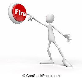 σπρώχνω , πρόσωπο , κουμπί , φωτιά