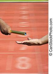 στάλσιμο , ίχνη, αμαυρώ , relay-athletes, αγώνας , startin, ανάμιξη , δράση