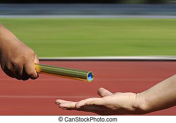 στάλσιμο , ανάμιξη , ίχνη, relay-athletes, αγώνας , αμαυρώ ,...