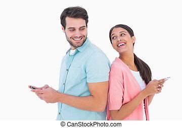 στάλσιμο , ζευγάρι , ευτυχισμένος , διάγγελμα , εδάφιο