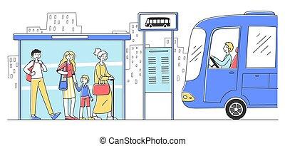 στάση λεωφορείου , αναμονή , ακάθιστος , αδρανές μέλος ομάδας