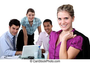 στέλεχος , γυναίκα , ομαδική εργασία , νέος , φόντο