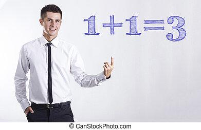 στίξη , εδάφιο , - , νέος , 1+1=3, επιχειρηματίας , χαμογελαστά