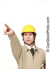 στίξη , νέος , εργάτης , γιαπωνέζοs , πάνω , δομή