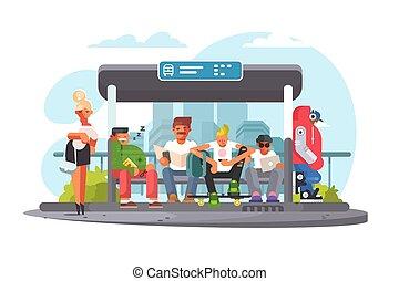 σταματώ , μεταφορά , αδρανές μέλος ομάδας , λεωφορείο , αναμονή