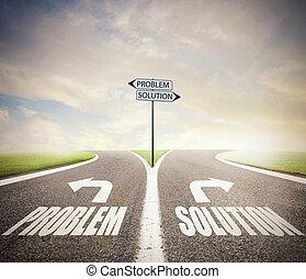 σταυροδρόμι , διάλυμα , decision., γενική ιδέα , πρόβλημα , σωστό , way.