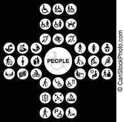 σταυροειδής , άνθρωποι , αναπηρία , συλλογή , άσπρο , εικόνα