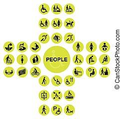 σταυροειδής , άνθρωποι , αναπηρία , συλλογή , κίτρινο , εικόνα