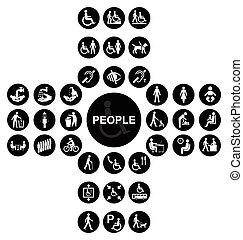 σταυροειδής , άνθρωποι , αναπηρία , συλλογή , μαύρο , εικόνα