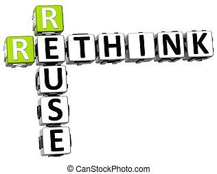 σταυρόλεξο , rethink, reuse , 3d