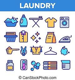 στεγνός , ιστός , cotton., θέτω , πλύση , περίγραμμα , εικόνα , ένδυμα , machine., pictogram., καθαρός , καθαριστήριο αμυντική γραμμή , εικόνα , vector., λεπτός