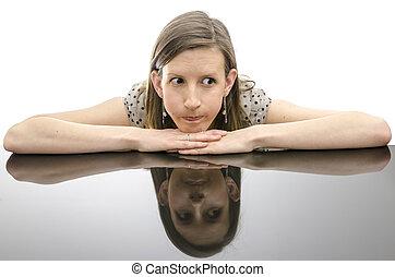 στεναχωρήθηκα , γυναίκα , διάθεση αναμμένος , ένα , τραπέζι