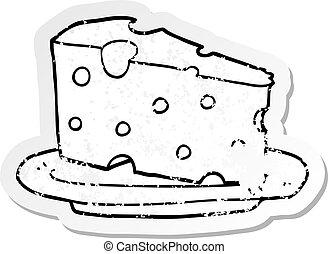 στενοχώρησα , τυρί , αυτοκόλλητη ετικέτα , γελοιογραφία , πιάτο