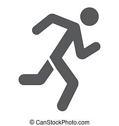 στερεός , αγώνισμα , φόντο. , δρομέας , πρότυπο , σήμα , τρέξιμο , μικροβιοφορέας , graphics , εικόνα , άσπρο , κάνω σιγανό τροχάδην , glyph, άντραs
