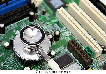 στηθοσκόπιο , επάνω , ένα , ηλεκτρονικός υπολογιστής , μητρικό κύκλωμα