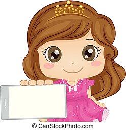 στοά , παιδί , κινητός , κορίτσι , πριγκίπισα , παιγνίδι , εικόνα