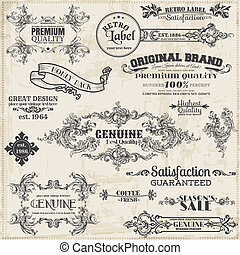 στοιχεία , διακόσμηση , κορνίζα , συλλογή , calligraphic, μικροβιοφορέας , σχεδιάζω , κρασί , σελίδα , set: