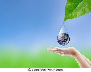 στοιχεία , φύλλο , αντανάκλαση , επίπλωσα , χέρι , εικόνα , σταγόνα , νερό , αυτό , εθνική διεύθυνση αεροναυτικής και διαστήματος , πράσινο , κάτω από , γη , κρατάω